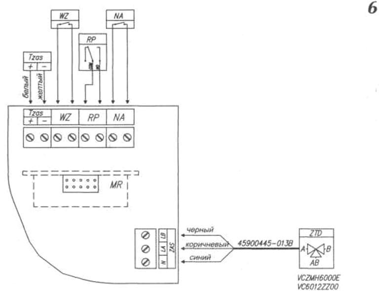 Рис.6 Узел ZIO ZTD - трехходовой кран ZAS - место подключения трехходового крана Tzas - место подключения датчика...